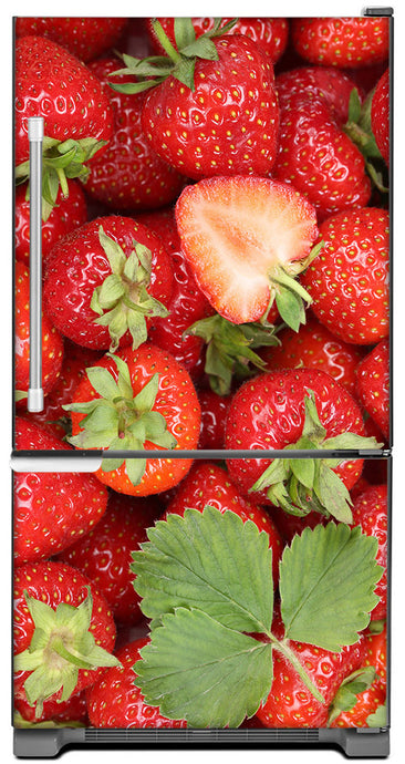 Sweet Strawberries Magnet Skin on Model Type Bottom Freezer Refrigerator
