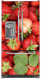 Sweet Strawberries Magnet Skin on Model Type French Door Refrigerator with Ice Maker Water Dispenser
