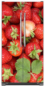 Sweet Strawberries Magnet Skin on Model Type Side by Side Refrigerator