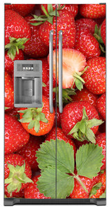 Sweet Strawberries Magnet Skin on Model Type Side by Side Refrigerator with Ice Maker Water Dispenser