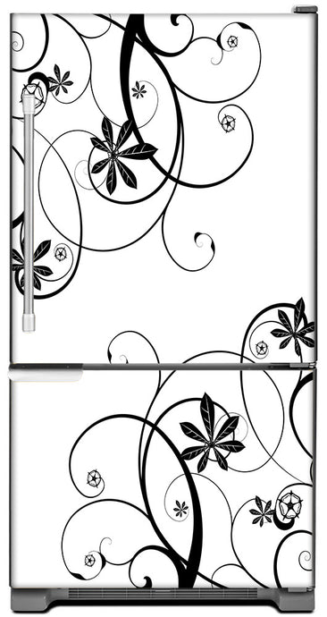 Swirling Flowers Magnet Skin on Model Type Bottom Freezer Refrigerator