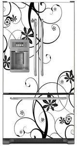 Swirling Flowers Magnet Skin on Model Type French Door Refrigerator with Ice Maker Water Dispenser