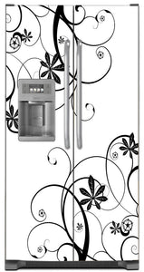 Swirling Flowers Magnet Skin on Model Type Side by Side Refrigerator with Ice Maker Water Dispenser