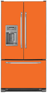 Tangerine Orange Color Magnet Skin on Model Type French Door Refrigerator with Ice Maker Water Dispenser