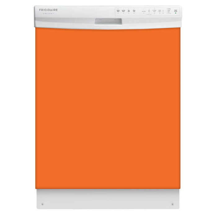 Tangerine Orange Color Magnet Skin on White Dishwasher