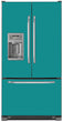 Load image into Gallery viewer, Teal Turquoise Color Magnet Skin on Model Type French Door Refrigerator with Ice Maker Water Dispenser