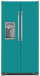 Load image into Gallery viewer, Teal Turquoise Color Magnet Skin on Model Type Side by Side Refrigerator with Ice Maker Water Dispenser