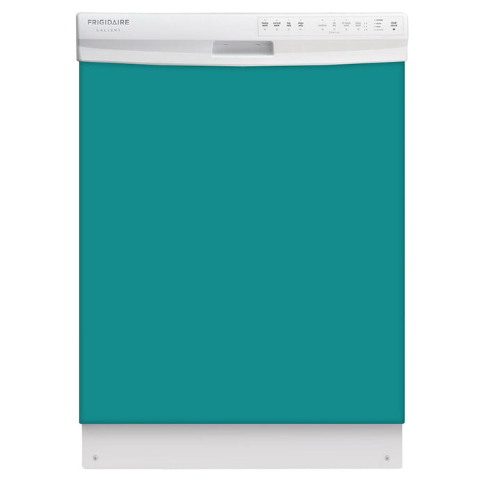 Teal Turquoise Color Magnet Skin on White Dishwasher