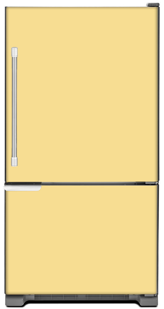 Vanilla Cream Color Magnet Skin on Model Type Bottom Freezer Refrigerator