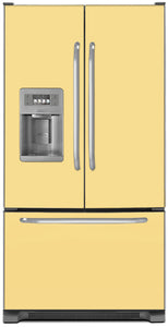 Vanilla Cream Color Magnet Skin on Model Type French Door Refrigerator with Ice Maker Water Dispenser