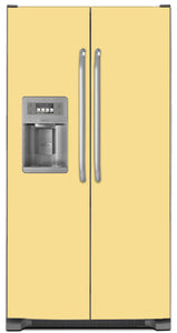 Vanilla Cream Color Magnet Skin on Model Type Side by Side Refrigerator with Ice Maker Water Dispenser