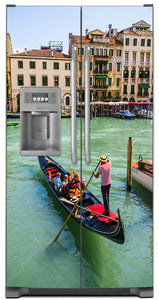 Venice Italy Magnet Skin on Model Type Side by Side Refrigerator with Ice Maker Water Dispenser