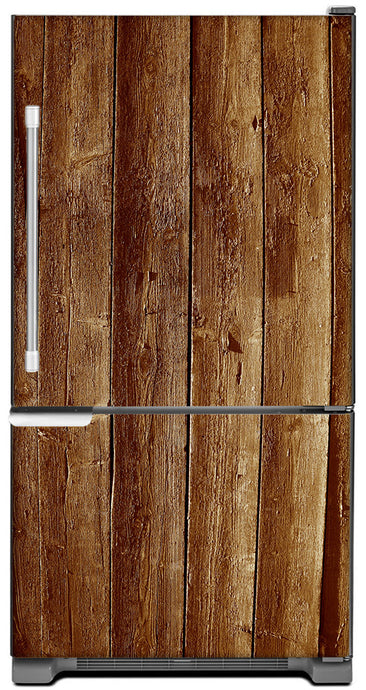 Weathered Wood Planks Magnet Skin on Model Type Bottom Freezer Refrigerator