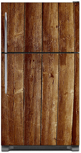 Weathered Wood Planks Magnet Skin on Model Type Top Freezer Refrigerator