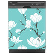 Load image into Gallery viewer, White Magnolias Magnet Skin on Black Dishwasher