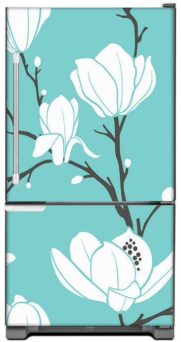 White Magnolias Magnet Skin on Model Type Bottom Freezer Refrigerator