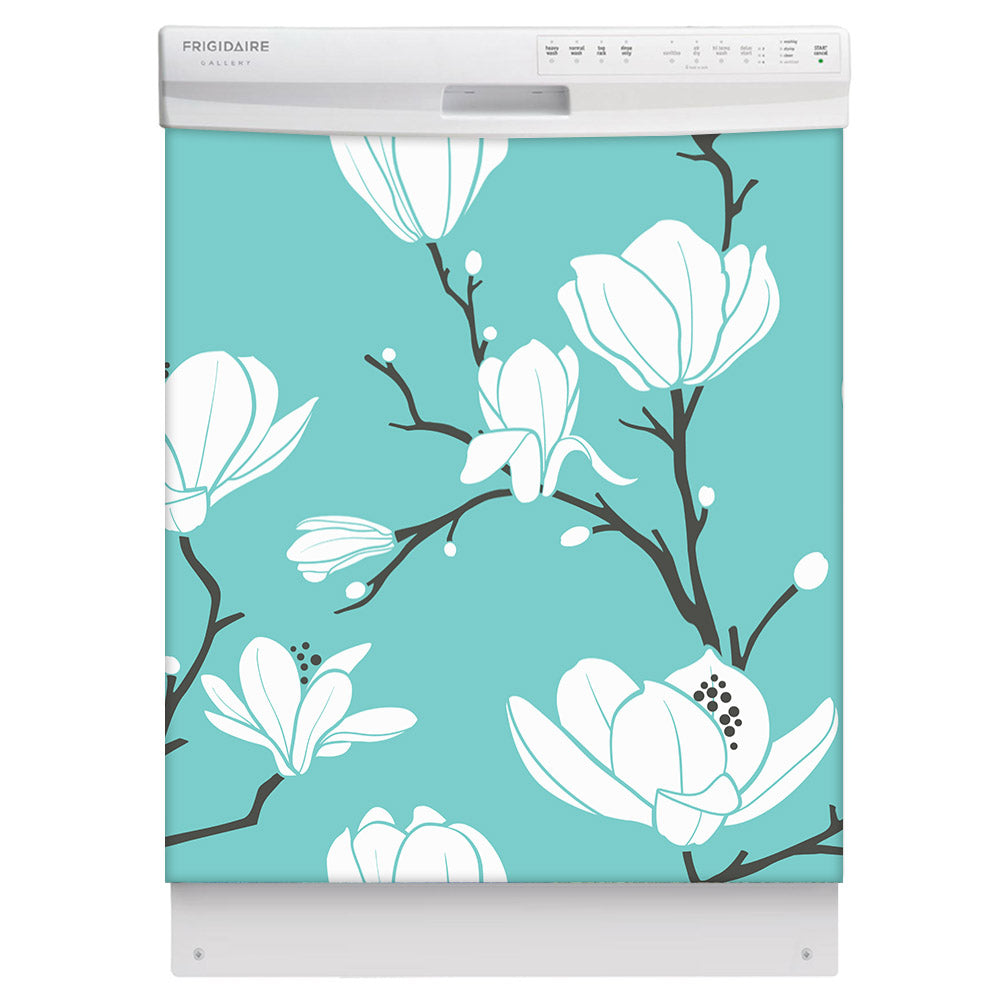 White Magnolias Magnet Skin on White Dishwasher