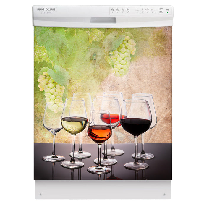 Wine Tasting Magnetic Dishwasher Cover Skin Panel on Dishwasher with White Control Panel