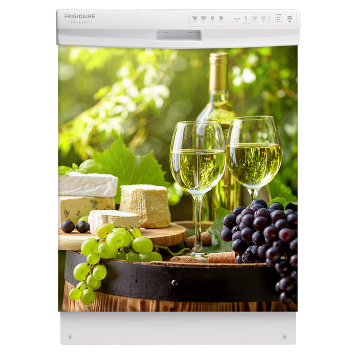Winery Picnic Magnetic Dishwasher Cover Skin Panel on Dishwasher with White Control Panel