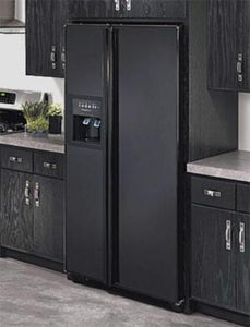 Kitchen with Gloss Black Color Magnet Skin on Model Type Side by Side Refrigerator with Ice Maker Water Dispenser