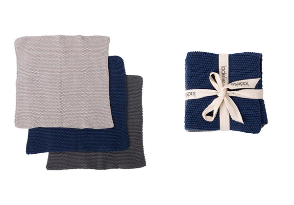 Eco Knitted Dishcloth s/3 Navy