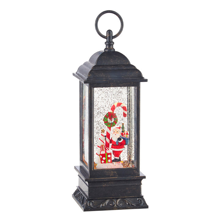 Santa And Candy Cane Lighted Water Lantern With Swirling Glitter