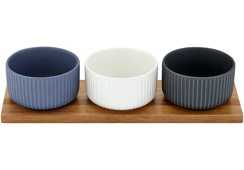 Linear Ribbed Tall 4pce Bowl & Tray Set