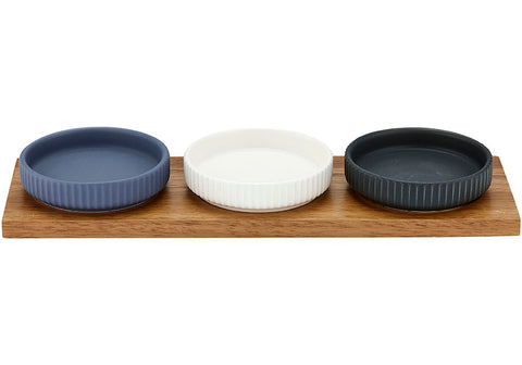 Linear Ribbed 4pce Bowl & Tray Set
