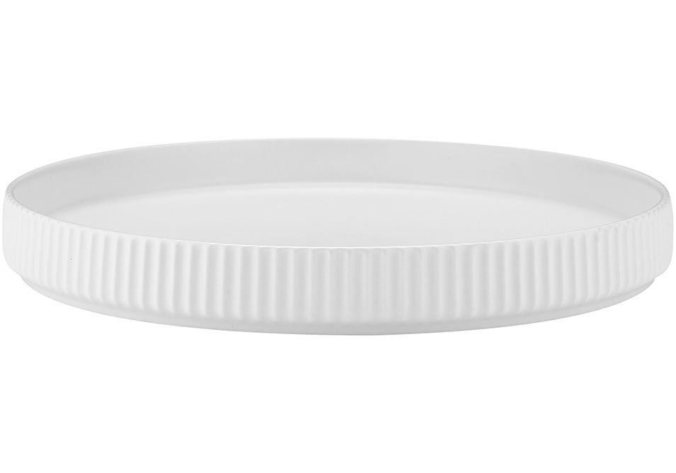 Linear Ribbed Round Platter - White