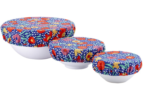 Bowl Cover s/3 Villa Bright Flowers