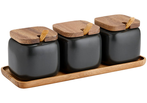 Canister Essentials s/3 with Spoons - Charcoal