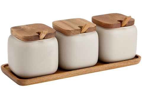 Canister Essentials s/3 with Spoons - Stone