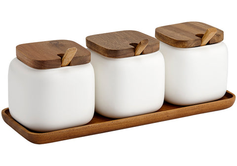 Canister Essentials s/3 with Spoons - White