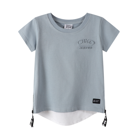 Onyx Embossed Tee - Dusty Blue