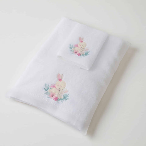 Baby Towel & Washer Set - Pink Bunny
