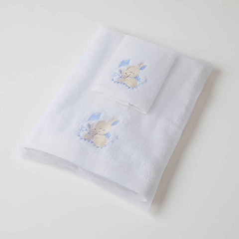 Baby Towel & Washer Set - Blue Bunny