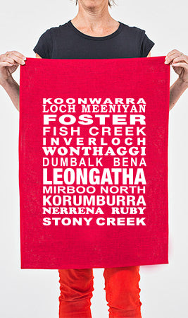 Many Towns Tea Towel