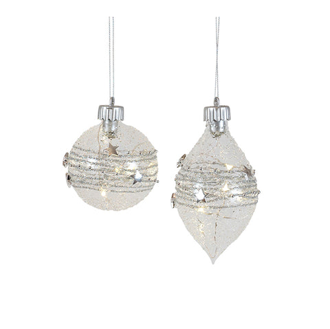 Hanging Ornament Spun Silver LED