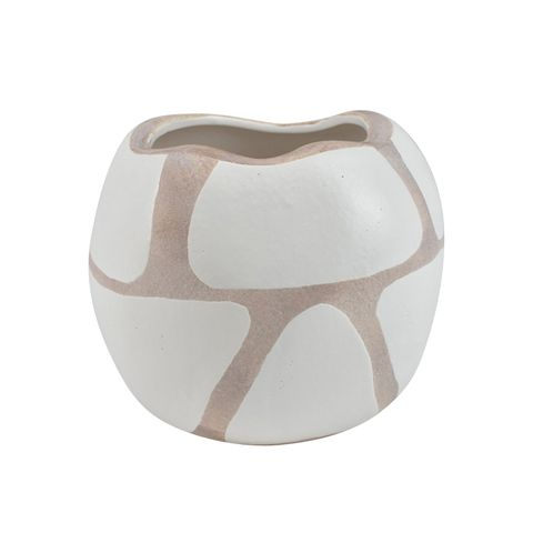 Nubile Ceramic White/Natural Vase 15x12.5cm