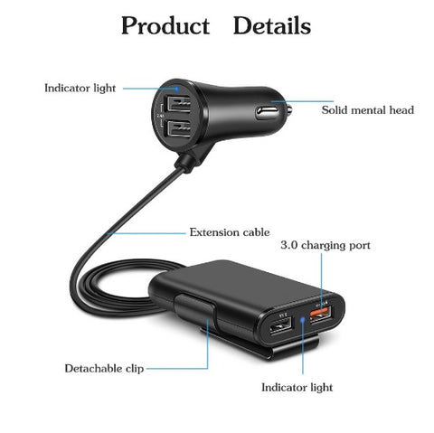 product specifications of USB car charger with clip and extension cord