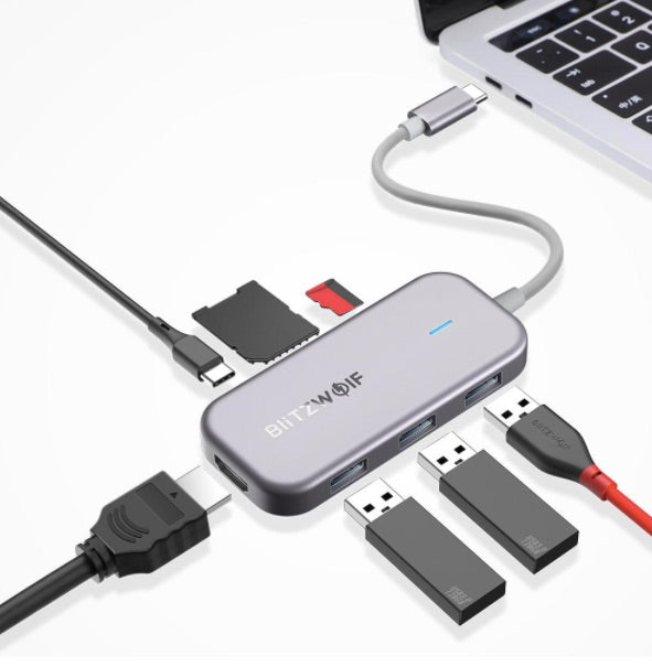 MD-HUB™ 7 in 1 USB-C Data Hub by Blitzwolf with 3 USB ports for MacBooks, iPads, and Laptops