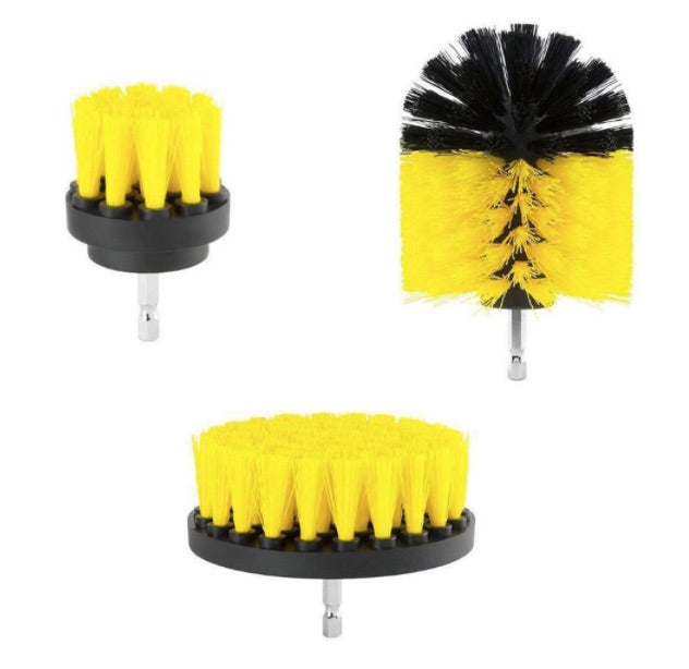POW-X™ 3 piece Cleaning Scrub Brush Set for Electric Drill
