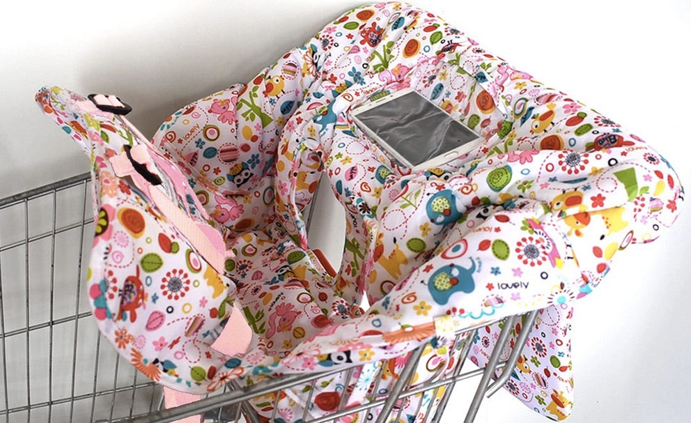 BebePack™ Printed Baby Shopping Cart and High Chair Cover with Cell Phone Pocket