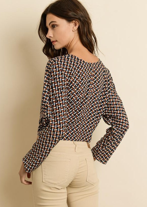 Geometric Tie-Collared Blouse