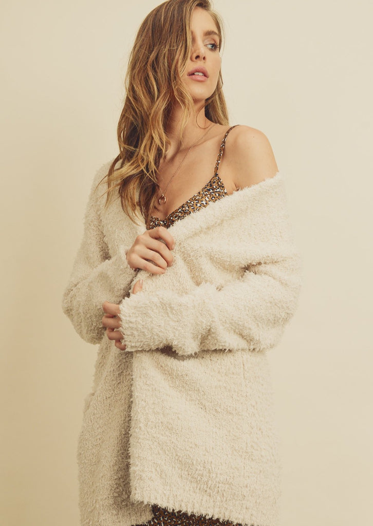 Cream Ultra Soft Teddy Cardigan