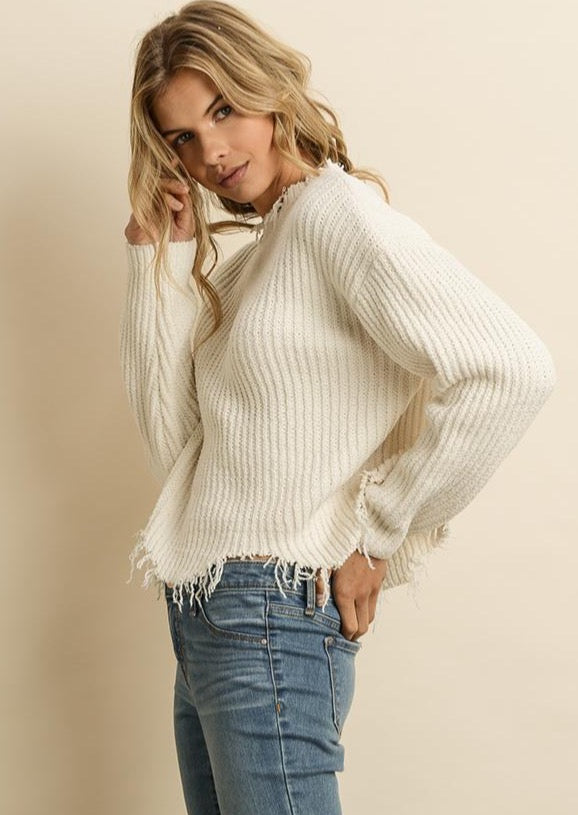 Cream Distressed Knit Sweater