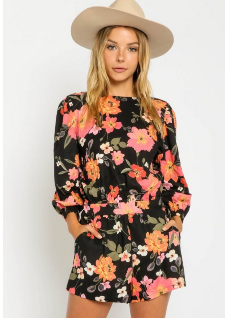 Hibiscus Floral Open Back Romper