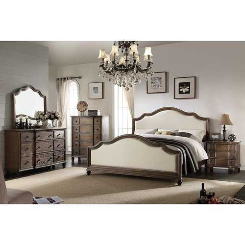 Beige Linen And Weathered Oak Eastern King Bed