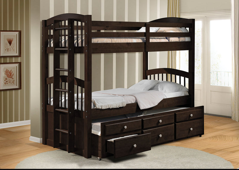 "80"" X 41"" X 71"" Twin Over Twin Espresso Bunk Bed"