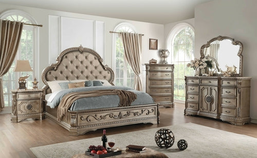 Antique Champagne Queen Bed